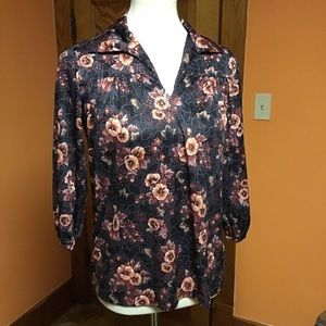 Vintage 70s hippie chic earthy flowers tunic